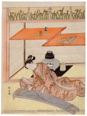 鈴木春信: A Beauty Playing the Koto - ホノルル美術館