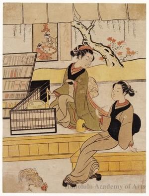 鈴木春信: Ofuji With A Visitor - ホノルル美術館