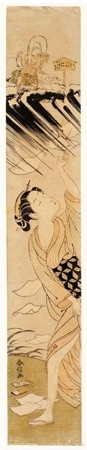 Suzuki Harunobu: Wind God and Lady (descriptive title) - Honolulu Museum of Art