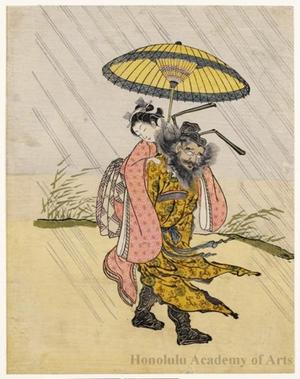 鈴木春信: Shöki Carrying a Young Girl - ホノルル美術館