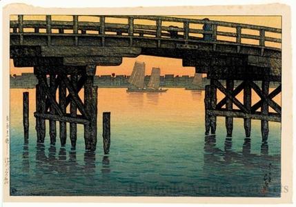 川瀬巴水: Kamino Bridge, Fukagawa - ホノルル美術館