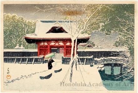 川瀬巴水: Snow at Shiba Park - ホノルル美術館