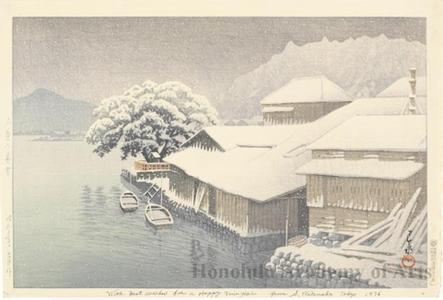 川瀬巴水: Ishinomaki in the Snow - ホノルル美術館