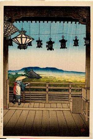 川瀬巴水: Nigatsudö Temple in Nara District - ホノルル美術館