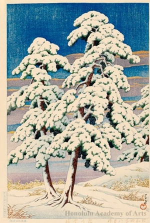 川瀬巴水: Clearing after a Snow in the Pines - ホノルル美術館
