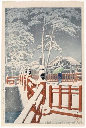 川瀬巴水: Yakumo Bridge at the Nagata Shrine, Kobe - ホノルル美術館