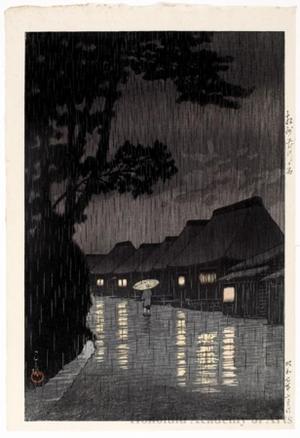 川瀬巴水: Rain in Maekawa, Söshü - ホノルル美術館
