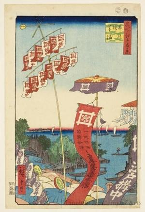 歌川広重: Kanasugi Bridge and Shibaura - ホノルル美術館