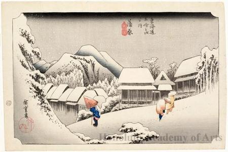 歌川広重: Night Snow at Kanbara (Station #16) - ホノルル美術館