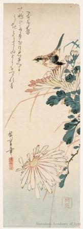 Utagawa Hiroshige: A Little Bird Amidst Chrysanthemum - Honolulu Museum of Art