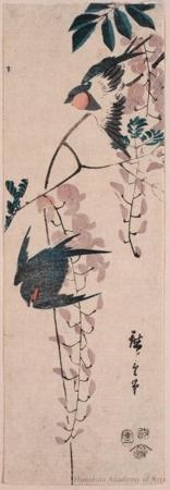 Utagawa Hiroshige: Swallows and Wistaria - Honolulu Museum of Art