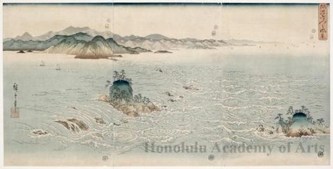 Utagawa Hiroshige: The Rapids of Naruto Strait in Awa - Honolulu Museum of Art