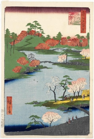 Utagawa Hiroshige: Open Garden at Fukagawa Hachiman Shrine - Honolulu Museum of Art