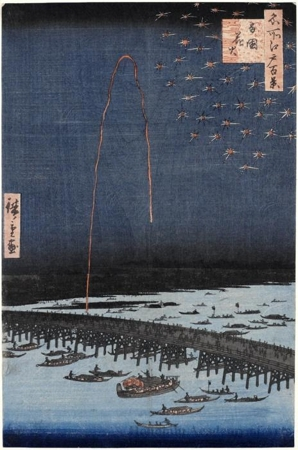 Utagawa Hiroshige: Fireworks at Ryögoku - Honolulu Museum of Art