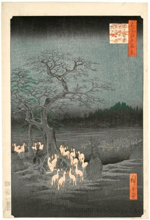 Utagawa Hiroshige: New Year's Eve Foxfires at the Changing Tree, Öji - Honolulu Museum of Art