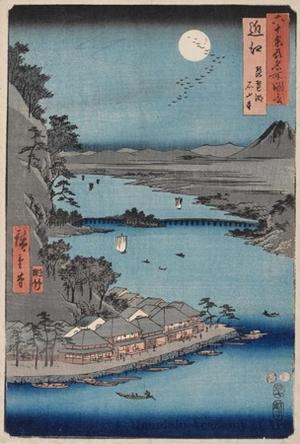 歌川広重: Ömi Province, Lake Biwa, Ishiyama Temple - ホノルル美術館