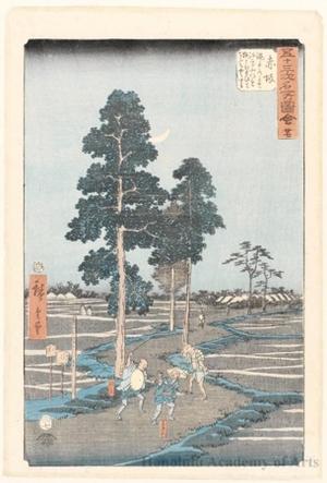 Utagawa Hiroshige: Yaji Mistakes Kitahachi for a Fox and Beats Him on the Nawate Road near Akasaka (station #37) - Honolulu Museum of Art