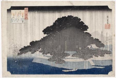 歌川広重: Night Rain at Karasaki - ホノルル美術館