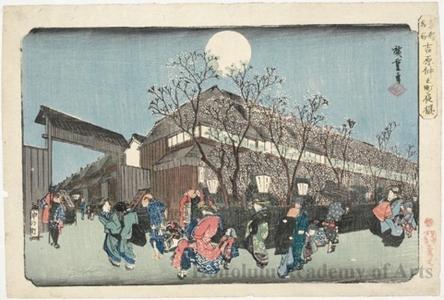 歌川広重: Evening Cherry Blossoms, Yoshiwara Nakanochö - ホノルル美術館