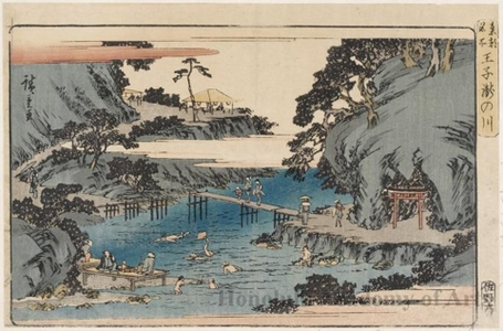 歌川広重: Takinogawa River, Öji - ホノルル美術館