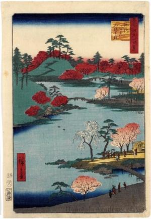 Utagawa Hiroshige: Open Garden at Fukagawa Hachiman Shrine - Honolulu Museum of Art