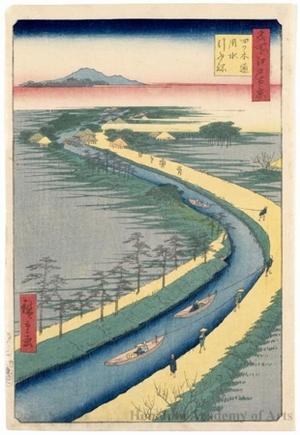 Utagawa Hiroshige: Towboats along the Yotsugi-döri Canal - Honolulu Museum of Art