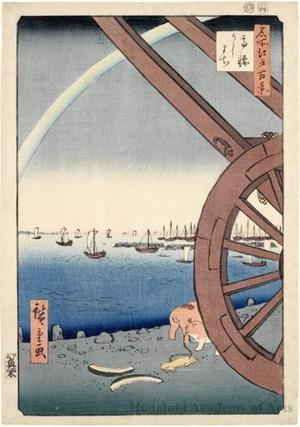 Utagawa Hiroshige: Ushimachi, Takanawa - Honolulu Museum of Art