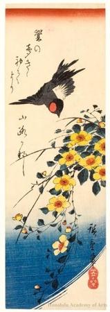 歌川広重: Bullfinch and Yellow Rose - ホノルル美術館