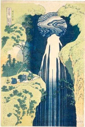 葛飾北斎: Amida-ga-taki Waterfall on the Kiso Road - ホノルル美術館