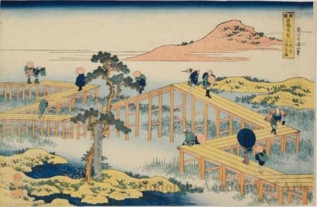 葛飾北斎: Ancient View of the Yatsuhashi Bridge in Mikawa Province - ホノルル美術館