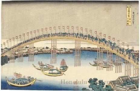 Katsushika Hokusai: Tenma Bridge in Settsu Province - Honolulu Museum of Art