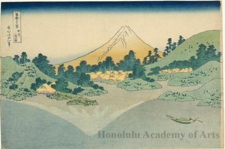 葛飾北斎: Reflection in Lake Misaka in Kai Province - ホノルル美術館