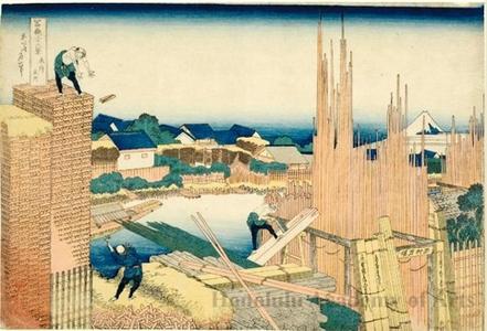 Katsushika Hokusai: Lumberyards on the Takekawa in Honjo - Honolulu Museum of Art