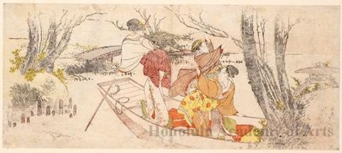 葛飾北斎: Girls Boating - ホノルル美術館