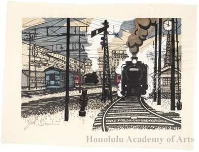 Sekino Junichirö: Hodogawa: 1942 Steam Engine No. D 51 - Honolulu Museum of Art