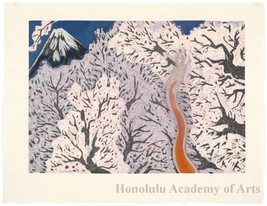 Sekino Junichirö: Yoshiwara: Mt. Fuji and Cherry Blossoms - Honolulu Museum of Art