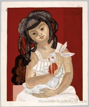 Sekino Junichirö: Girl with rabbit - ホノルル美術館