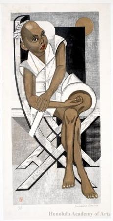 Sekino Junichirö: Black Boy Seated on A Chair - ホノルル美術館