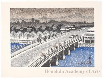 Sekino Junichirö: Kyoto: Sanjö Öhashi Bridgein Snow - ホノルル美術館