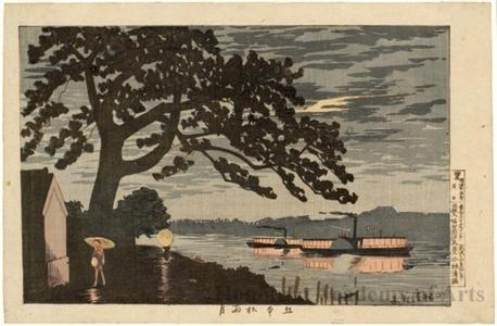 Kobayashi Kiyochika: Rain and Moonlight at Gohommatsu - Honolulu Museum of Art