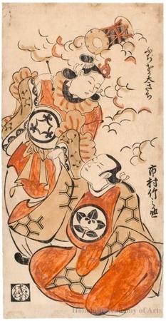 鳥居清倍: The Actors Ichimura Takenojö IV and Fujioka Daikichi - ホノルル美術館