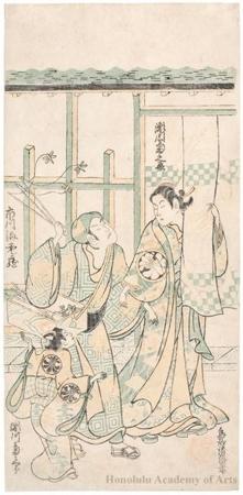 Torii Kiyomasu II: Ichikawa Ebizö as Kagekiyo, Segawa Kikunojö I as the Courtesan Kayoiji, and Segawa Kikusaburö as a Kamuro - Honolulu Museum of Art