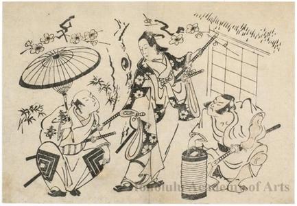 Torii Kiyomasu II: Ichikawa Danjürö II With Two Unidentified Actors - Honolulu Museum of Art