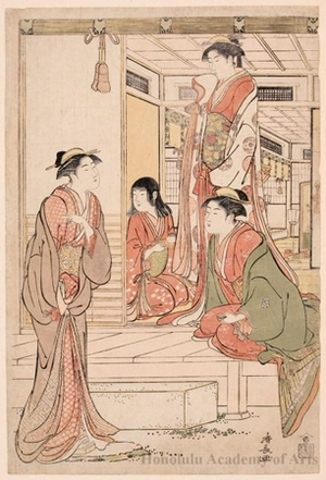 鳥居清長: Ushikawa Serenading Jöruri-hime - ホノルル美術館