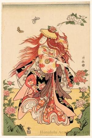 Torii Kiyonaga: Segawa Kikunojö III in the Nö play Shakkyö (The Stone Bridge) - Honolulu Museum of Art