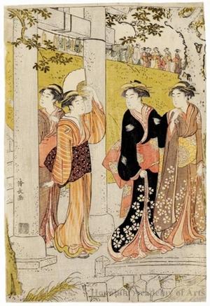 鳥居清長: An Outing Party at Mimeguri - ホノルル美術館