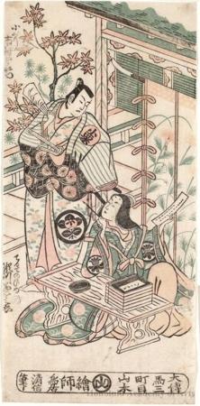 Torii Kiyonobu II: The Actors Ichimura Uzaemon VIII as Oguri Hangan and Segawa Kikunojö I as Terute-hime, in the play Mangetsu Oguri Yakata - Honolulu Museum of Art