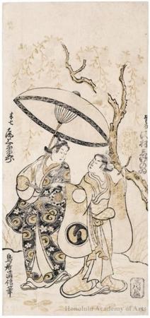 Torii Kiyonobu II: Onoe Kikugorö I As Hanshichi And Sawamura Shigenoi As Ohana - Honolulu Museum of Art