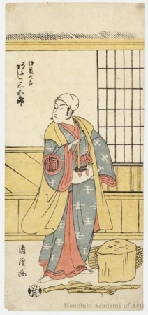 鳥居清経: Arashi Sangorö II As Itö Kurö - ホノルル美術館