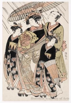 Isoda Koryusai: Courtesan Procession On a Rainy Day - Honolulu Museum of Art